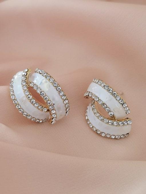 14k Gold [Earrings] Brass Rhinestone Enamel Geometric Minimalist Stud Earring